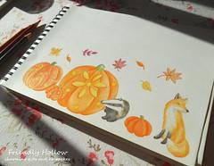 Autumn Scene in Colored Pencil (FriendlyHollow) Tags: drawing illustration natureart animals woodlandscene sketch autumn fall pumpkins gourds coloredpencil fox badger cute