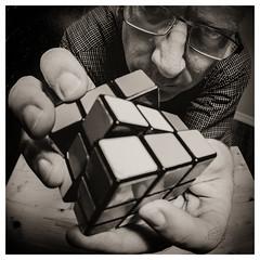 The Paradox (_Matt_T_) Tags: selfie portrait speedbounce40 autoportrait af540fgz hands puzzle cube rubiks bw cactusv6 smcpk17mmf40fisheye dailyinaugust explore 69