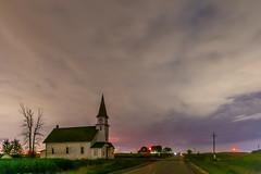 Church in the clouds (Notkalvin) Tags: church thumb michigan northernlights night longexposure notkalvin mikekline outdoors cloudy worshiphouseofgod windmills turbines farms farmland