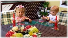 Schmeckt's ? :-) / Does it taste ? :-) (ursula.valtiner) Tags: puppe doll luis bärbel künstlerpuppe masterpiecedoll eis icecream essen eat sommer summer terrasse terrace