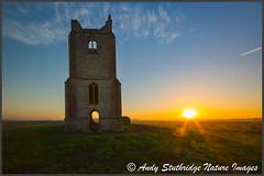 Avalon Sunrise (www.andystuthridgenatureimages.co.uk) Tags: sunrise somersetlevels burrowmump church ruins building stone hill dawn sunup sky clouds wetland flat landscape st michaels