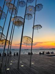 Thessaloniki (Lorenzog.) Tags: thessaloniki thessalonikidays neaparalia greece grecia people silhouette ilobsterit sunset nikon d700 umbrella