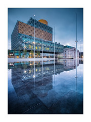 Library (Dave Fieldhouse Photography) Tags: birmingham birminghamcentrallibrary library libraryofbirmingham centenarysquare reflection reflections building architecture modernarchitecture bluehour dawn water cloudy city citycentre westmidlands uk fuji fujifilm fujixt2 wwwdavefieldhousephotographycom