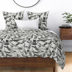 cat party pure 2 large Wyandotte duvet cover (Scrummy Things) Tags: sharonturner scrummy illustration surfacedesign spoonflower cat catparty wyandotte duver duvetcover home bed neutral