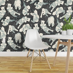 arctic polar bears charcoal isobar wallpaper (Scrummy Things) Tags: isobar roostery spoonflower wallpaper polarbears endangeredanimal arcticanimal bear sharonturner scrummy animal pattern
