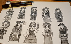 me beauties WIP (Scrummy Things) Tags: wip workinprogress sharonturner scrummy pirates pirate women female buccaneer dressup cosplay steampunk people drawing illustration pen paper spoonflower