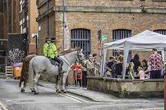 Meet and greet (tootdood) Tags: canon6dmkii streetcandid manchester meet greet littleleverstreet police horse geegee bobo horsie nag giddyup high viz yellow jacket grey mare gazeebo