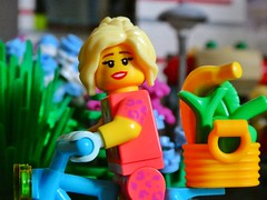 Done some shoppings (sander_sloots) Tags: patty lego minifig daily life shoppings groceries girl lady town city colours plants lamppost dctz90 panasonic lumix blonde vrouw stad legostad bricks lantaarnpaal afol bike bicycle fiets boodschappen legolife minifiguur leopard
