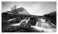 Buachaille Etive Mor (Robgreen13) Tags: scotland scottishhighlands glencoe buachailleetivemor mountains waterfall trees rain snow landscape longexposure bw