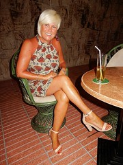 Wife - Gran Canaria (Curryfan) Tags: wife blonde highheels holiday bar cocktail minidress legs