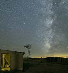 Mojave Night Sky Shoot (magnetic_red) Tags: nightsky stars milkyway vertical barn building windmill mojavenationalpreserve