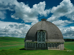 Round Barn (jpeder55) Tags: 2019 palouse washington barn blue clouds dramatic farming field fuji fujifilm gfx50s green june sky spring wheat