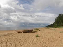 Boats (olaf_alien) Tags: latvia saulkrasti baltakapa pabaži saulkrastunovads olafalien landscape nature beach clouds storm boats sand sea water forest olympus sp560uz
