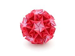 Junia (variation) (ronatka) Tags: kusudama modularorigami nataliaromanenko rectangle rectangle1sqrt3 junia variation pink whitebackground ef50mmf14usm