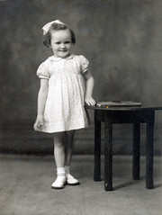 IMG_0013 Geoff Spafford RIP old B&W Family Photos. Sandra age 3 years old 16 April 1946. Studio Photography by Francis E Bowen Scunthorpe Lincs. (photographer695) Tags: geoff spafford rip old bw family photos sandra age 3 years 16 april 1946 studio photography by francis e bowen scunthorpe lincs to daddy with lots love kisses from xxx