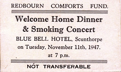 IMG_0001 Geoff Spafford RIP old B&W Family Photos. Redbourn Steel Works Comforts Fund. Welcome Home Dinner and Smoking Concert. Blue Bell Hotel Scunthorpe November 11th 1947 (photographer695) Tags: geoff spafford rip old bw family photos redbourn steel works comforts fund welcome home dinner smoking concert blue bell hotel scunthorpe november 11th 1947