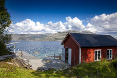 Boathouse and white clouds (G E Nilsen) Tags: boathouse white clouds nevernes northernnorway norwegiancoast