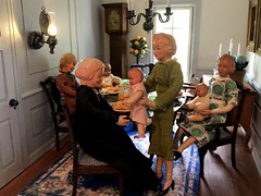 8. A break for mother (Foxy Belle) Tags: caco dolls family dining room baby food 112 scale dollhouse doll scene table chairs simplicity real good toys vintage colonial formal pale blue gray paneling cereal box window light women grandmother mother