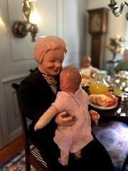 9. Getting to know her grand niece (Foxy Belle) Tags: caco dolls family dining room baby food 112 scale dollhouse doll scene table chairs simplicity real good toys vintage