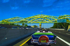 Freeway Jam (oybay©) Tags: i17 i17freeway arizona phoenix bridge colorfulbridge unique yellow veryyellow reflection mirror chevrolet chevroletimpala convertible classiccar blue veryblue freeway interstate interstatehighway
