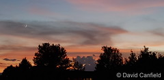 August 2, 2019 - Sunset and Setting New Moon from Broomfield. (David Canfield)