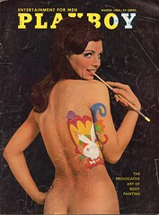 """USA vintage Playboy cover March 1968 focused on body painting - """"Bunny Slope"""" (moreska) Tags: usa vintage playboy cover magazine 1968 bodypainting suggestive coy seminude flirty retro 1960s hippieera oldschool massmedia magazines publications history collectibles archive us north america"""