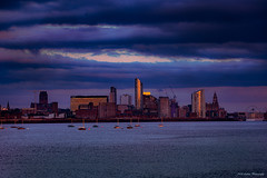 Liverpool waterfront (Neil Adams Photography (Wirral)) Tags: water waterfront liverpool lowlight lowkey blue sunlight sunset