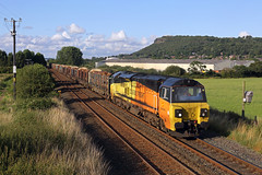 70815 Hapsford 7th August 2019 (John Eyres) Tags: 70815 powering away from helsby with 6j37 carlisle chirk loaded timber 070819 clas colas