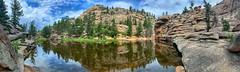 Gem Lake Panorama (Pejasar) Tags: rock reflection landscape skybeautiful trees colorado estespark rockymountainnationalpark hike gemlake lake panorama pano