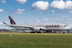 Qatar A350-900 (Martyn Cartledge / www.aspphotography.net) Tags: airplane fly flying airport edinburgh aircraft aviation air flight aeroplane civil airline airbus edi airliner aero airfield a7ala a350900 plane photography wings transport jet asp qatar wwwaspphotographynet flywinglets