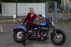 Agnieszka and a bike (piotr_szymanek) Tags: agnieszka agnieszkar woman young skinny portrait outdoor bike face eyesoncamera highheels harleydavidson 1k 5k 20f 50f 100f 10k 20k