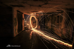 Fire in the Battery once again (Matt Straite Photography) Tags: fire sparks steel wool dark military history concrete light painting trail long longexposure canon tripod oregon fort stevens base abandoned