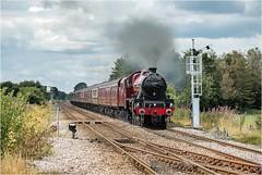 45699. Weaverthorpe. (Alan Burkwood) Tags: weaverthorpelevelcrossing lms stanier jubilee 45699 galatea scarboroughspaexpress 1z25 carnforthscarborough steam locomotive semaphoresignals