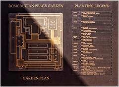 Rosicrucian Peace Garden | Informational Plaque | November, 2007 (steveartist) Tags: signs plaques rosicrucianpeacegarden informationalsigns fujifilmfinepixf20 photostevefrenkel plantinglegend map