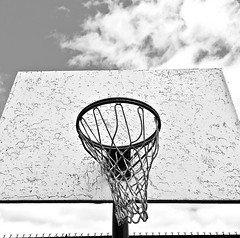 """Hoop Dreams"" (Halvorsong) Tags: bw blackwhite basketball sport outside art composition explore discover hoop hoopdreams athletics usa america sky white black dream iconography classic vintage old oldschool projectamerica halvorsong urban city"