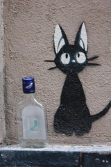Street art (Sandrine Ducros) Tags: streetart paris city ville mur wall chat cat bouteille bottle champollion urban