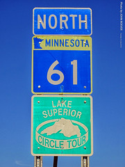 Signs for Hwy 61 and Superior Circle Tour, 16 July 2019 (photography.by.ROEVER) Tags: minnesota 2019 july july2019 vacation roadtrip 2019vacation 2019roadtrip minnesota2019roadtrip minnesota2019vacation twoharbors lakecounty sign shield shieldsign shieldsigns minnesotastatehighway61 statehighway61 highway61 mn61 highway61revisted lakesuperiorcircletour northhighway61 7thave 7thavenue 4thst 4thstreet usa