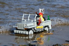 Hooray for big waves (captain_j03) Tags: toy spielzeug 365toyproject lego minifigure minifig moc car auto jeep 6wide willysjeep kiel hasselfelde strand beach wasser water series14 pirat pirate