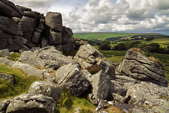 Granite on my mind (Christian Hacker) Tags: houndtor dartmoor nationalpark granite outcrops tor rocky boulders geology landscape devon uk outdoors nature cloudy fern lichen heather rockformation distantviews