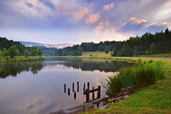 summer moods (JoannaRB2009) Tags: pond river water reflections landscape view nature grass mist fog clouds evening sunset tree trees forest hills mountains góryorlickie lowersilesia dolnyśląsk polska poland