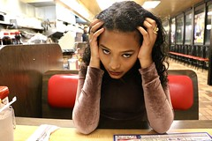 Fine Dining (david11eiu) Tags: creepy booth colorful colors red restaurant beauty modeling models wafflehouse fine dining food eat model photography photo scenery