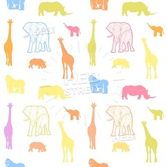 Seamless colorful kids animals art pattern (Hebstreits) Tags: african animal animals art baby babyrhino background boy cartoon child childelephant children color colorful cute decoration design doodle drawing element elephant funny giraffe gorilla graphic happy illustration jungle kid kids monkey paper pattern patterns print repeat rhino safari seamless stye textile texture tropical vector wallpaper white wild wildlife zoo