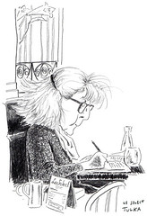 Café Le Sélect 436 (Rick Tulka) Tags: paris café caricature pencil drawing sketchbook lesélect