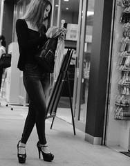 Crossed legs girl 1 (Bill Morgan) Tags: fujifilm fuji xpro2 35mm f14 bw alienskin exposurex45 jpeg acros