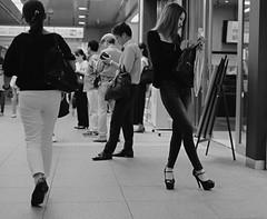 Crossed legs girl 2 (Bill Morgan) Tags: fujifilm fuji xpro2 35mm f14 bw alienskin exposurex45 jpeg acros