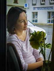 Ich bin dann mal weg (Maquarius) Tags: frau café rose blume vase waschsalon regen gast