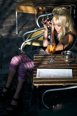 Miss Multimedia (claudia 222) Tags: sunny lady cafe canal amsterdam zeissaposonnart135mmf20zf2 bar drink sony candid manual zeiss a7s sonnar t 135mm f2 aposonnart2135