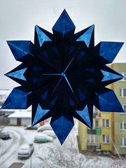 Snowflake (ilja11) Tags: winter blue light star snowflake paper papercraft tomokofuse origami