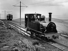 IOMSR No 15 'Caledonia' at Snaefell Summit as SMR Car No 6 arrives during Steam Test Runs on 7th December 1994 (robinstewart.smith) Tags: snaefell mountain railway iomsr no 15 caledonia summit smt 1994