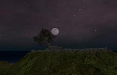 "Visual Feast ""Music"" Velvet Night (Hazel Foxtrot) Tags: sl second life tree ruins stones sky clouds moon stars hill landscape"